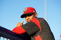 Batavia Muckdogs pitcher Jose Diaz (41) in the dugout during a game against the Hudson Valley Renegades on August 2, 2016 at Dwyer Stadium in Batavia, New York.  Batavia defeated Hudson Valley 2-1. (Mike Janes/Four Seam Images)