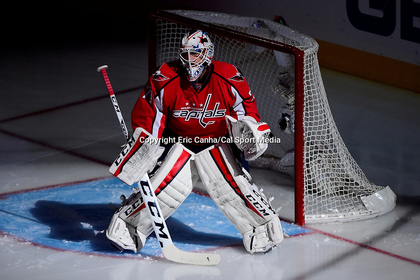 Friday, April 22, 2016: Washington Capitals goalie Braden Holtby (70) is lit by a spot light before the start of game 5 of the first round of the National Hockey League Eastern Conference playoffs  between the Philadelphia Flyers and the Washington Capitals held at the Verizon Center in Washington, DC. The Flyers defeat the Capitals 2-0. Eric Canha/CSM