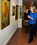 Queen Mathilde of Belgium visit the exhibition Nervia Laethem Saint Martin in the Ixelles Museum. Exhibition of the rules of two groups who make the belgian artistic history, Brussels 8 january 2016, Belgium