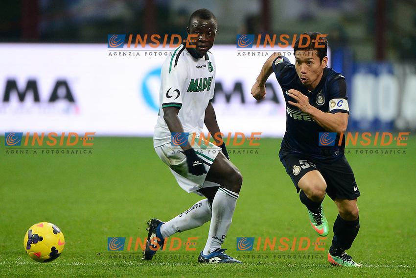 Yuto Nagatomo Inter, Yussif Chibsah<br /> Milano 09-02-2014 Stadio Giuseppe Meazza - Football 2013/2014 Serie A. Inter - Sassuolo Foto Giuseppe Celeste / Insidefoto