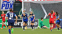 Portland, OR - Saturday July 09, 2016: Shea Groom celebrates scoring during a regular season National Women's Soccer League (NWSL) match between the Portland Thorns FC and FC Kansas City at Providence Park.