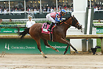 LOUISVILLE, KENTUCKY, MAY 05:American Gal, #8, ridden by Jose Ortiz, wins the Humana Distaff Stakes on Kentucky Derby Day at Churchill Downs on May 5, 2018 in Louisville, Kentucky. ( Photo by Sue Kawczynski/Eclipse Sportswire/Getty Images)