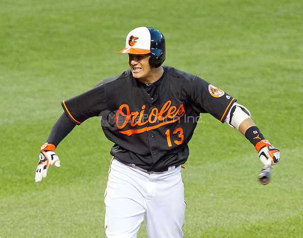 Baltimore Orioles third baseman Manny Machado (13) reacts after striking-out in the second inning against the Houston Astros at Oriole Park at Camden Yards in Baltimore, MD on Friday, August 19, 2016.  The Astros won the game 15 - 8.<br /> Credit: Ron Sachs / CNP/MediaPunch