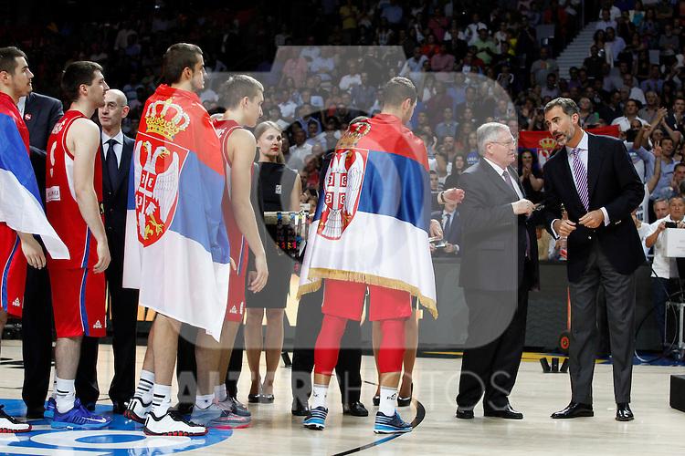 during FIBA Basketball World Cup Spain 2014 final match award ceremony at `Palacio de los deportes´ stadium in Madrid, Spain. September 14, 2014. (ALTERPHOTOSVictor Blanco)