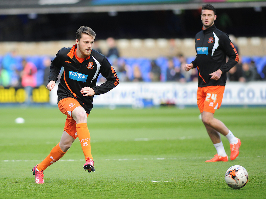 Blackpool's Niall Maher during the pre-match warm-up <br /> <br /> Photographer Kevin Barnes/CameraSport<br /> <br /> Football - The Football League Sky Bet Championship - Ipswich Town v  Blackpool - Saturday 11th April 2015 - Portman Road - Ipswich<br /> <br /> &copy; CameraSport - 43 Linden Ave. Countesthorpe. Leicester. England. LE8 5PG - Tel: +44 (0) 116 277 4147 - admin@camerasport.com - www.camerasport.com