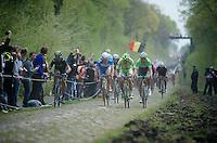 Jempy Drucker (LUX/Wanty-GroupeGobert) next to Peter Sagan (SVK/Cannondale) & Lars Boom (NLD/Belkin) through the Trouée d'Arenberg / <br /> <br /> Paris-Roubaix 2014