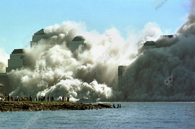 Collapse of the second tower from the terrorist attack on the World Trade Center, view from Jersey City, New Jersey, USA, September 11, 2001