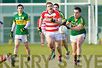 Jack Sherwood  Kerry in action against Shane McCarthy Cork IT in the semi final of the McGrath Cup at John Mitchells Grounds on Sunday.