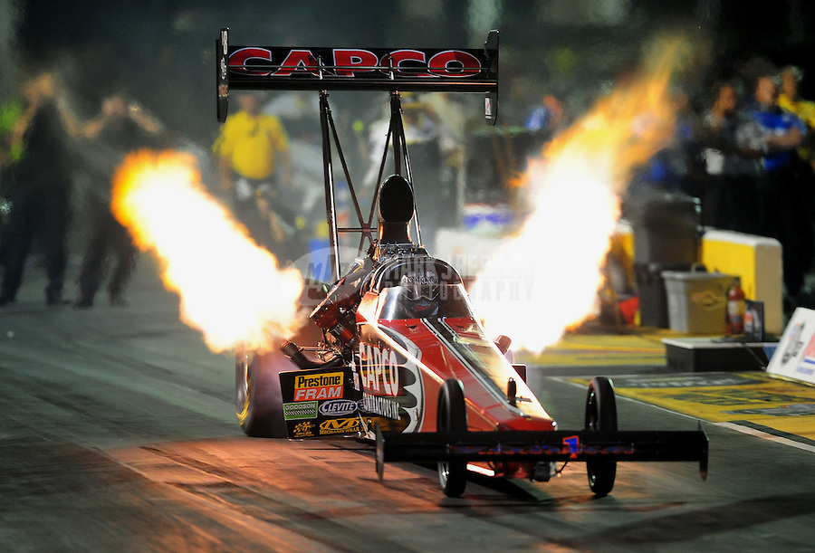 May 13, 2011; Commerce, GA, USA: NHRA top fuel dragster driver Steve Torrence during qualifying for the Southern Nationals at Atlanta Dragway. Mandatory Credit: Mark J. Rebilas-