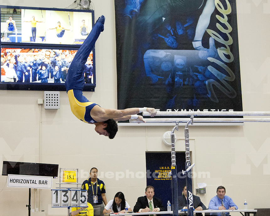 The University of Michigan men's gymnastics team defeated No. 13 UIC, 342.800-325.450, at Cliff Keen Arena in Ann Arbor, Mich., on March 17, 2012.