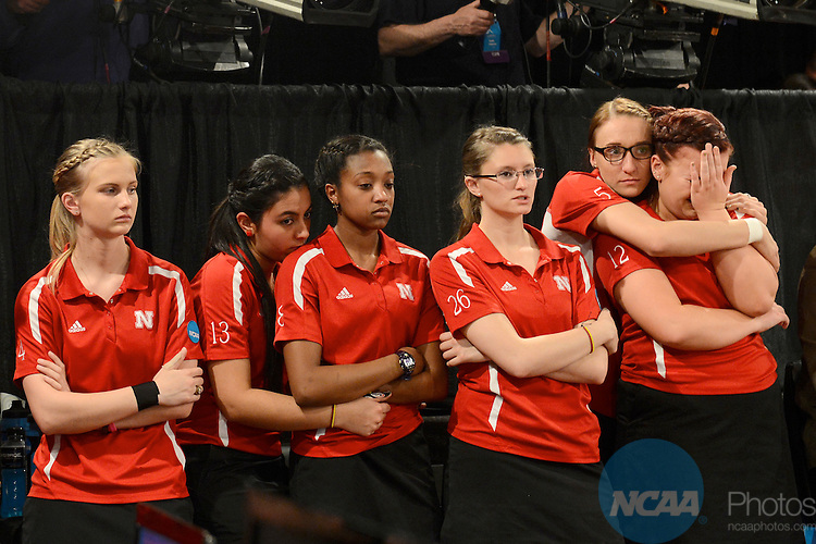 12 APR 2014:  Members of University of Nebraska react after losing the Division I Women's Bowling Championship held at Game of Wickliffe in Wickliffe, OH.  Sam Houston defeated Nebraska 4-2 for the national title.  Eric Mull/NCAA Photos