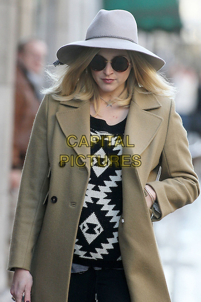 Fearne Cotton arrives for work, London, England..November 5th, 2012.half length grey gray hat sunglasses shades brown jacket tan black white sweater jumper top trousers   pregnant  .CAP/HIL.©John Hillcoat/Capital Pictures .