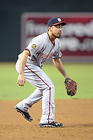 Washington Nationals third baseman Anthony Rendon (6) fields a ground ball during a game against the Arizona Diamondbacks at Chase Field on September 29, 2013 in Phoenix, Arizona.  Arizona defeated Washington 3-2.  (Mike Janes/Four Seam Images)