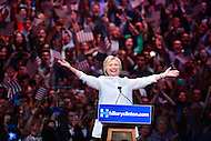 Brooklyn, NY - June 7, 2016: Democratic presidential candidate Hillary Clinton speaks before supporters during a rally in Brooklyn, NY, June 7, 2016, after winning enough delegates to clinch her party's nomination.   (Photo by Don Baxter/Media Images International)