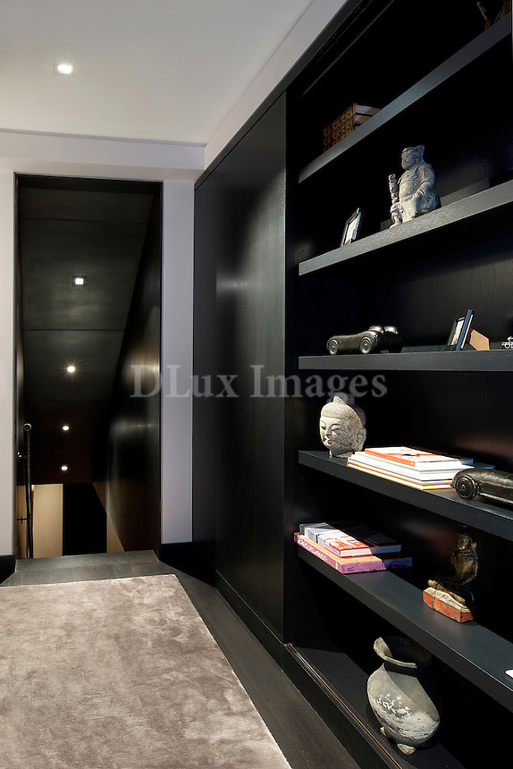 Black bookcase in the hallway