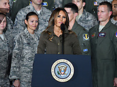 First lady Melania Trump makes remarks introducing United States President Donald J. Trump who will delivers remarks to military personnel and families in a hanger at Joint Base Andrews in Maryland on Friday, September 15, 2017.  He visited JBA to commemorate the 70th anniversary of the US Air Force.<br /> Credit: Ron Sachs / CNP