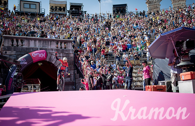 Vincenzo Nibali (ITA/Bahrain-Merida) entering the Verona amphitheater after finishing the closing iTT<br /> <br /> Stage 21 (ITT): Verona to Verona (17km)<br /> 102nd Giro d'Italia 2019<br /> <br /> ©kramon