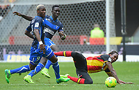 20170415 - LENS , FRANCE : Lens' Habib Habibou (R) with Auxerre's Mohamed Lamine Yattara (L) and Vieux Sane (M) pictured during the soccer match between Racing Club de LENS and AJ Auxerre , on the thirty third matchday in the French Dominos pizza Ligue 2 at the Stade Bollaert Delelis stadium , Lens . Saturday 15 April 2017 . PHOTO DIRK VUYLSTEKE | SPORTPIX.BE