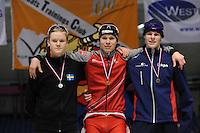 SCHAATSEN: HEERENVEEN: Thialf, Viking Race, 18-03-2011, Podium Boys16 3000m, David Andersson (SWE), Simen Spieler Nilsen (NOR), Gerben Jorritsma (G-FR), ©foto Martin de Jong