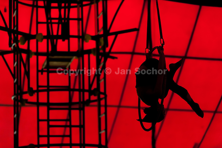 """A student performs acrobatics on the aerial hoop during the lessons in the circus school Circo para Todos in Cali, Colombia, 2 June 2012. Circo Para Todos (""""Circus for All""""), founded by Felicity Simpson, a former British circus performer, is the first professional circus school in the world specifically dedicated to disfavoured kids and talented street children. Students are trained in a range of circus art skills including acrobatics, balancing, juggling, stilt walking or unicyling. After finishing the four-year course, graduates may find jobs in circuses in the world or in the cruise ships."""