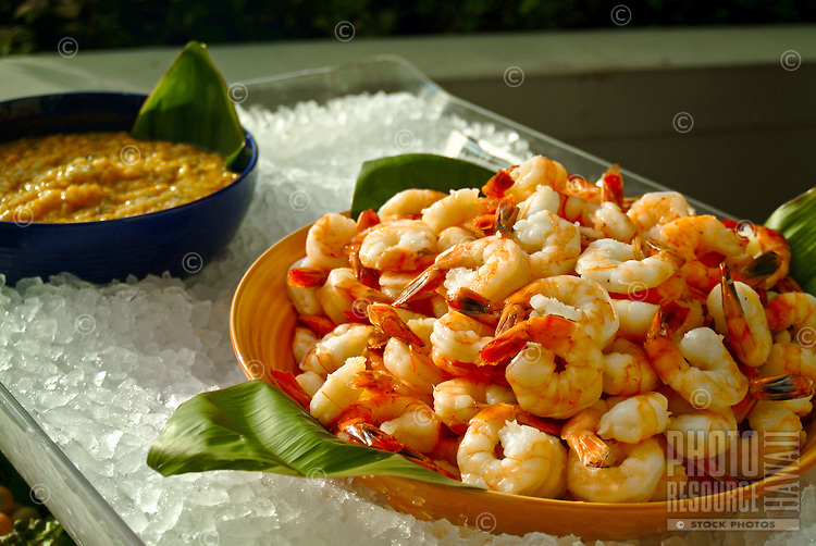 Gourmet shrimp and dip on ice and on the menu at a wine & food festival on Maui.