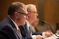 Chairman of the National Transportation Safety Board Robert Sumwalt listens during a US Senate Subcommittee on Transportation and Safety hearing on Capitol Hill in Washington, DC on April 10, 2019.<br /> Credit: Stefani Reynolds / CNP/AdMedia