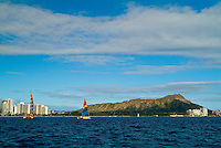 Sailing off Waikiki with the full length of Diamond Head in the background.