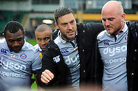 Matt Banahan of Bath Rugby speaks to his team-mates in a post-match huddle. Aviva Premiership match, between Northampton Saints and Bath Rugby on September 3, 2016 at Franklin's Gardens in Northampton, England. Photo by: Patrick Khachfe / Onside Images