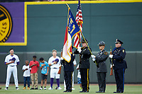Color Guard stands during the National Anthem prior to the Carolina League game between the Lynchburg Hillcats and the Winston-Salem Dash at BB&T Ballpark on May 9, 2019 in Winston-Salem, North Carolina. The Dash defeated the Hillcats 4-1. (Brian Westerholt/Four Seam Images)