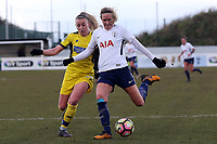 Hannah Short of Oxford United Ladies and Wendy Martin of Tottenham Ladies during Tottenham Hotspur Ladies vs Oxford United Women, FA Women's Super League FA WSL2 Football at Theobalds Lane on 11th February 2018