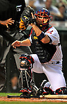 12 September 2008: Cleveland Indians' catcher Kelly Shoppach in action against the Kansas City Royals at Progressive Field in Cleveland, Ohio. The Indians defeated the Royals 12-5 in the first game of their 4-game series...Mandatory Photo Credit: Ed Wolfstein Photo