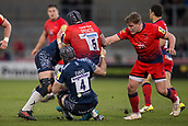 24th March 2018, AJ Bell Stadium, Salford, England; Aviva Premiership rugby, Sale Sharks versus Worcester Warriors; Will Spencer of Worcester Warriors is tackled by Bryn Evans of Sale Sharks