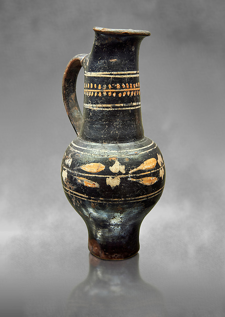 Early 3rd century B.C oenochoe, wine jug, with a trilobata spout, black and overpainted , inv 4380,   National Archaeological Museum Florence, Italy  , grey art background