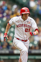 Nebraska Cornhuskers outfielder Ryan Boldt (21) runs to first base during the NCAA baseball game against the Hawaii Rainbow Warriors on March 7, 2015 at the Houston College Classic held at Minute Maid Park in Houston, Texas. Nebraska defeated Hawaii 4-3. (Andrew Woolley/Four Seam Images)