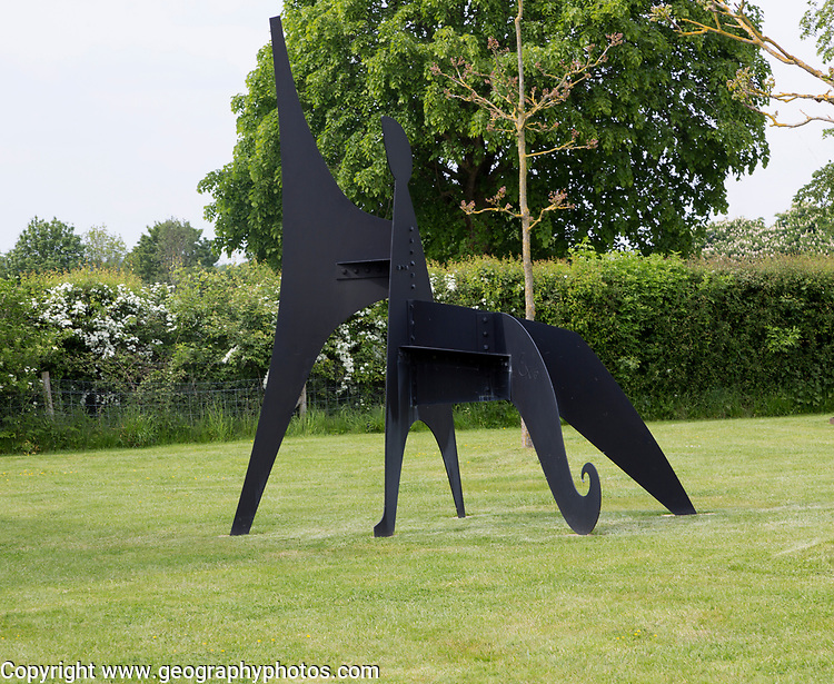 Hauser and Wirth art gallery, restaurant and garden, Durslade Farm, Bruton, Somerset, England, UK, Alexander Calder sculpture 'Sabot' 1963