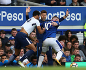 9th September 2017, Goodison Park, Liverpool, England; EPL Premier League Football, Everton versus Tottenham; Mauricio Pochettino, manager of Tottenham looks on as Mousa Dembele of Tottenham and Wayne Rooney of Everton tussle for the ball