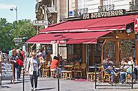 Au Sauvignon, a wine bar and restaurant in Paris with a sunny terrasse Paris, France.