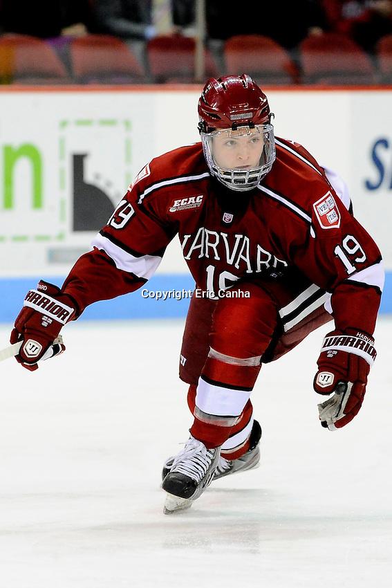 Harvard Crimson forward Jimmy Vesey (19) during the Harvard University at Boston University NCAA hockey match held at the Agganis Arena in Boston Massachusetts.   Eric Canha/CSM