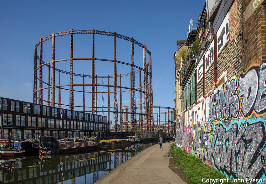 Gas works at the side of Regents Canal, Bow in Greater London