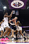 COLUMBUS, OH - APRIL 1: Jessica Shepard #23 of the Notre Dame Fighting Irish fights for the ball against Teaira McCowan #15 of the Mississippi State Bulldogs  and Roshunda Johnson #11 of the Mississippi State Bulldogs during the championship game of the 2018 NCAA Division I Women's Basketball Final Four at Nationwide Arena in Columbus, Ohio. (Photo by Justin Tafoya/NCAA Photos via Getty Images)