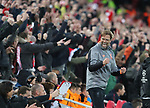 Jurgen Klopp manager of Liverpool celebrates the first goal during the Champions League Semi Final 1st Leg match at Anfield Stadium, Liverpool. Picture date: 24th April 2018. Picture credit should read: Simon Bellis/Sportimage