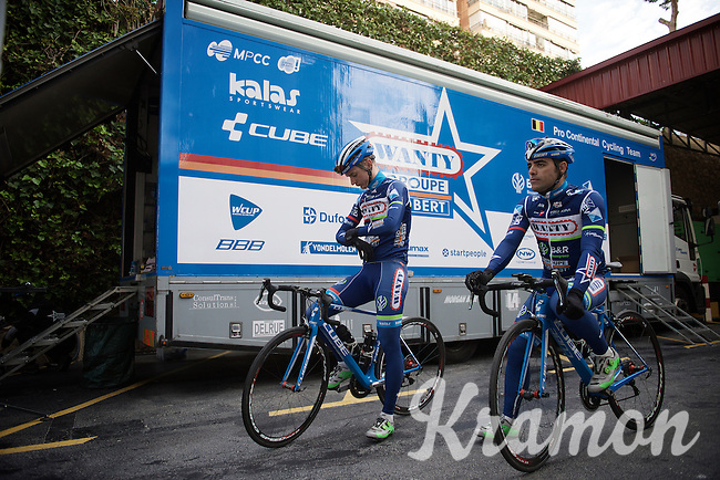 Danilo Napolitano (ITA/Wanty-Groupe Gobert) & Mark McNally (GBR/Wanty-Groupe Gobert) ready for another (long) day on the bike<br /> <br /> Pro Cycling Team Wanty-Groupe Gobert <br /> <br /> Pre-season Training Camp january 2016