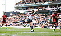 Mousa Dembele of Tottenham Hotspur scores his side's first goal during the Premier League match between Tottenham Hotspur and Bournemouth at White Hart Lane, London, England on 15 April 2017. Photo by Mark  Hawkins / PRiME Media Images.