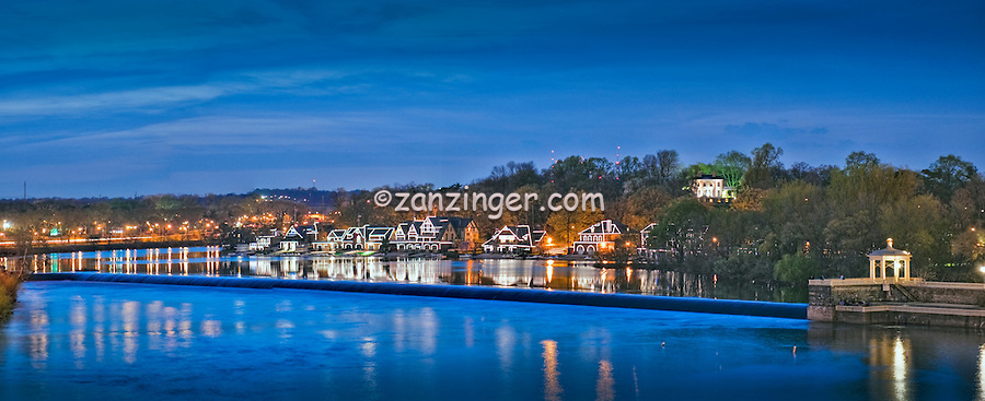 Schuylkill River , Boathouse Row , Dusk, Night, Twilight, Philadelphia Pennsylvania, Phila. PA,,  Panorama