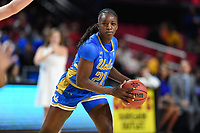 College Park, MD - March 25, 2019: UCLA Bruins forward Michaela Onyenwere (21) with the ball during second round game of NCAAW Tournament between UCLA and Maryland at Xfinity Center in College Park, MD. UCLA advanced to the Sweet 16 defeating Maryland 85-80.(Photo by Phil Peters/Media Images International)
