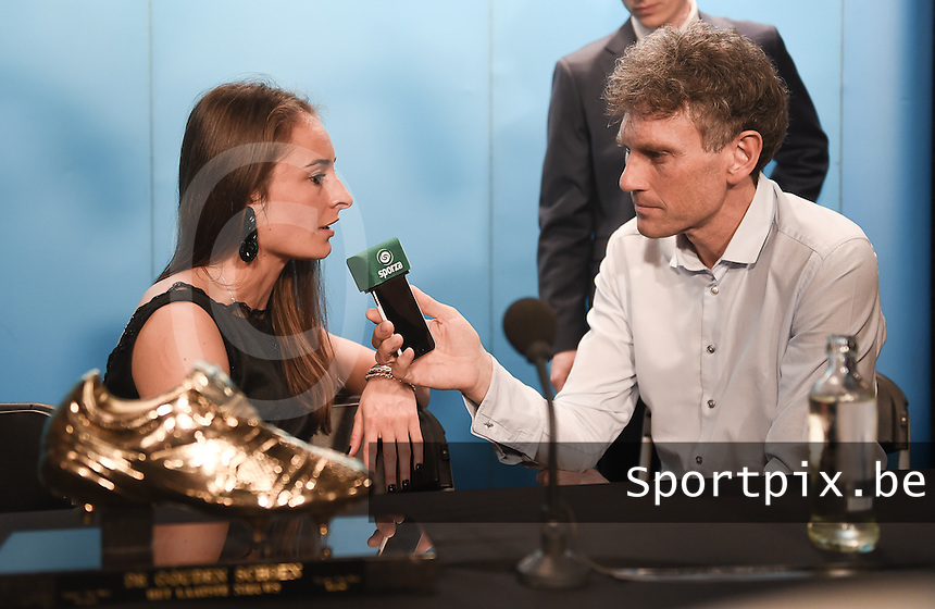 20170208 – LINT ,  BELGIUM : Tessa Wullaert pictured during the press conference of the 63nd men edition of the Golden Shoe award ceremony and 1st Women's edition, Wednesday 8 February 2017, in Lint AED studio. The Golden Shoe (Gouden Schoen / Soulier d'Or) is an award for the best soccer player of the Belgian Jupiler Pro League championship during the year 2016. The female edition is a first in Belgium.  PHOTO DIRK VUYLSTEKE | Sportpix.be
