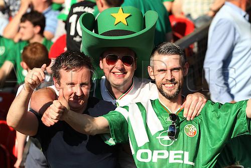 31.05.2016, Turners Cross Stadium, Cork, Ireland. International football friendly between republic of ireland and Belarus.  Irish fans in joyful mood before losing 1-2