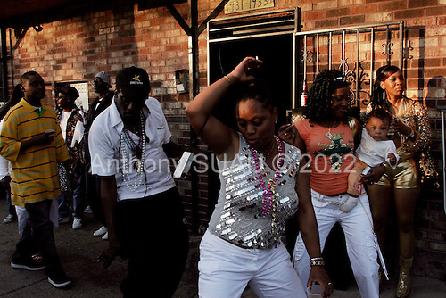 New Orleans, Louisiana.February 28, 2006..Celebrating Mardi Gras in the 7th Ward.