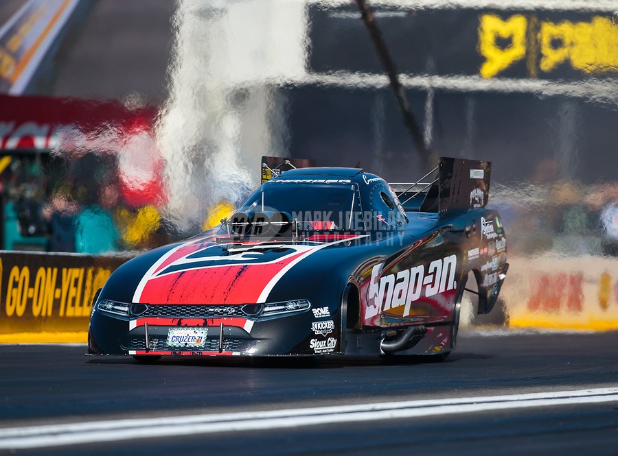 Feb 8, 2019; Pomona, CA, USA; NHRA funny car driver Cruz Pedregon during qualifying for the Winternationals at Auto Club Raceway at Pomona. Mandatory Credit: Mark J. Rebilas-USA TODAY Sports
