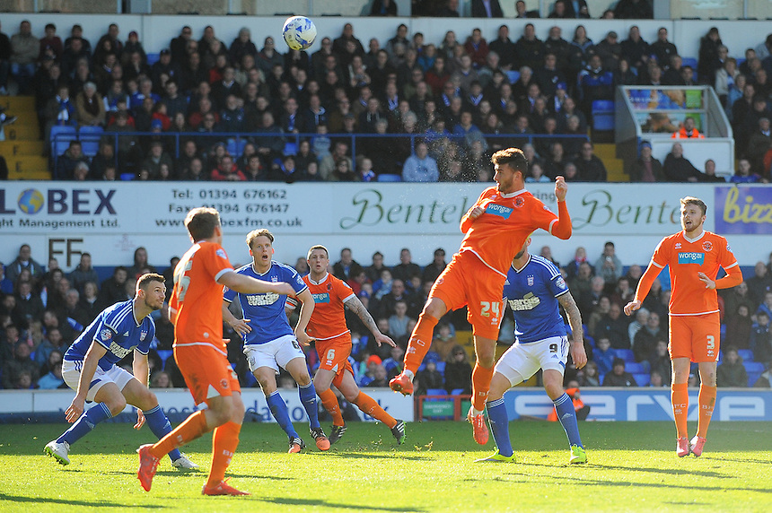 Blackpool's Gary Madine sends his header looping over the bar<br /> <br /> Photographer Kevin Barnes/CameraSport<br /> <br /> Football - The Football League Sky Bet Championship - Ipswich Town v  Blackpool - Saturday 11th April 2015 - Portman Road - Ipswich<br /> <br /> &copy; CameraSport - 43 Linden Ave. Countesthorpe. Leicester. England. LE8 5PG - Tel: +44 (0) 116 277 4147 - admin@camerasport.com - www.camerasport.com